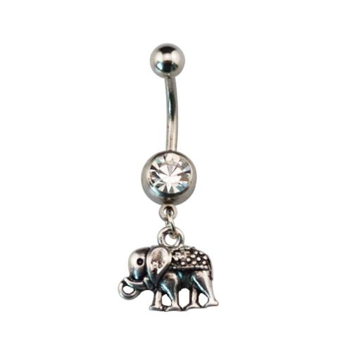 Elephant Dangle Belly Bar with Gem Ball Wiccan Pagan Style